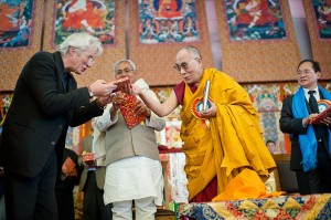 Dalai Lama with Hollywood Actor Richard Gere and Bihar CM Nitish Kumar during 33rd Kalachakra at Bodh Gaya in January 2012