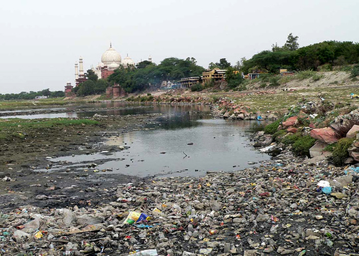 Yamuna River Polluted near Taj Mahal
