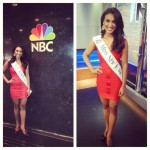 Nina Davuluri posing for pics at NBC Studios