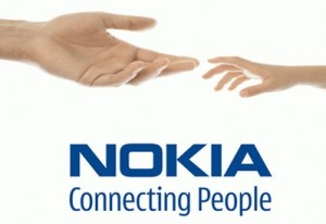 Nokia Logo with two hands