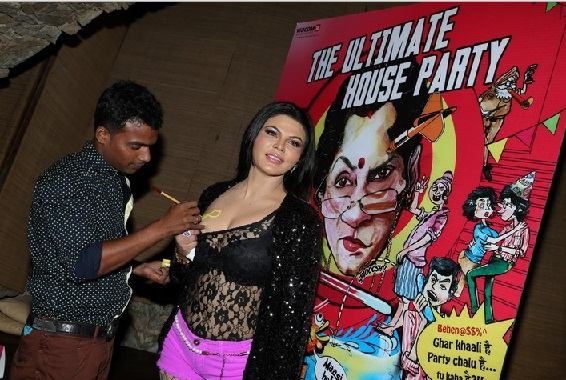 Rakhi Sawant getting tattooed on Breasts at WTF House Party