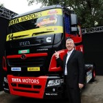Karl Slym with the Model of Tata Prima Truck