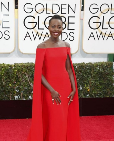 Lupita Nyong'o in Red Dress at Golden Globe Awards