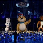 Mascot Bear Waves Goodbye at Sochi Olympics Closing Ceremony