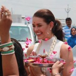 Miss World Rolene Strauss arrives in India on a 4 Day Long Tour