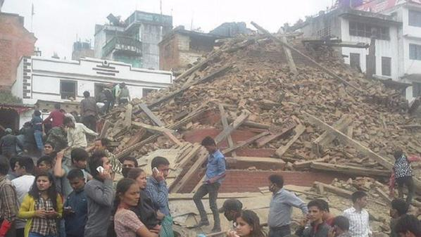 Building Debris of Nepal Earthquake on 25 April 2015