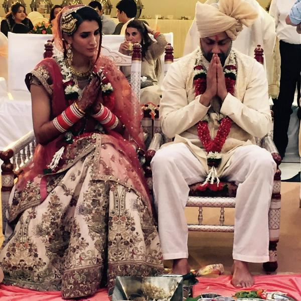 Abhishek Kapoor and Pragya Yadav during their Wedding