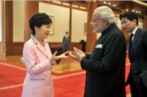 PM Narendra Modi with South Korean President Geun-hye