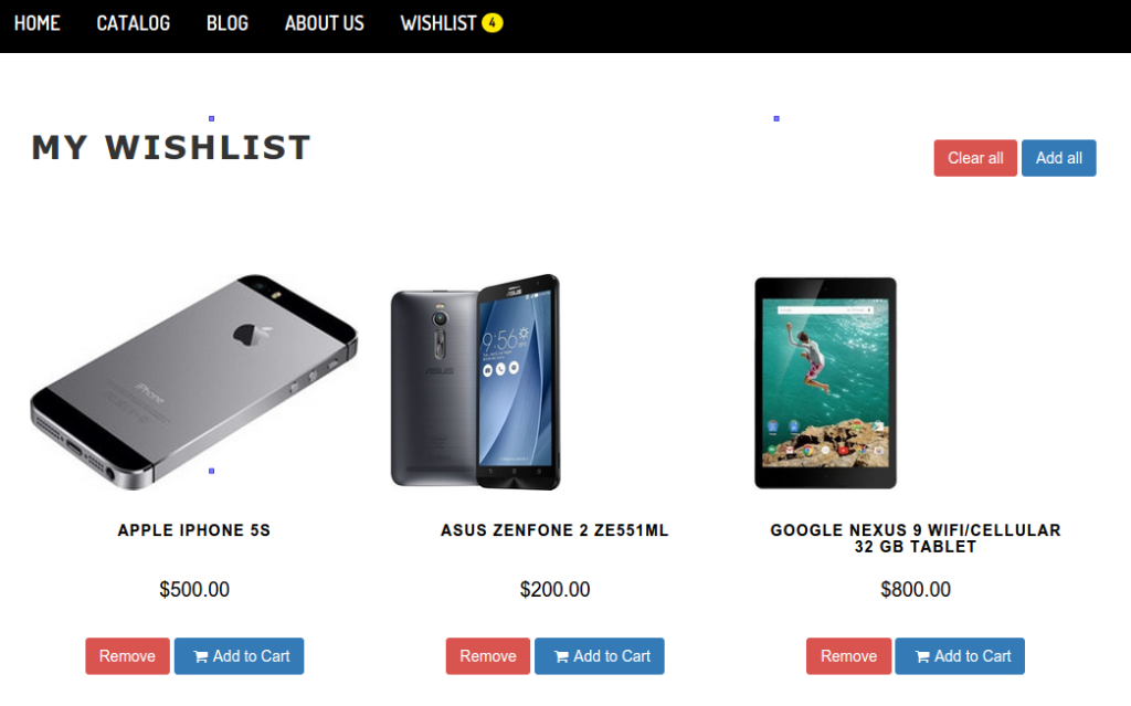 A Screenshot of Smart Wishlist Page